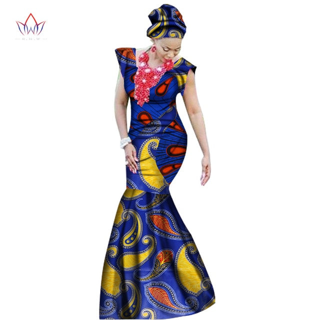 Summer african dresses for women dashiki women african print ankle-length long part dress plus size natural