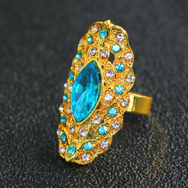 Zircon Big Ring Gold Color for Women Trendy Charm Party Bague femme