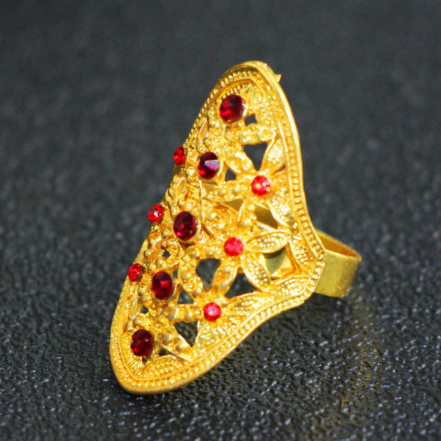 Adjustable 6 Colors Flower Gold Color Fashion Ring for Women