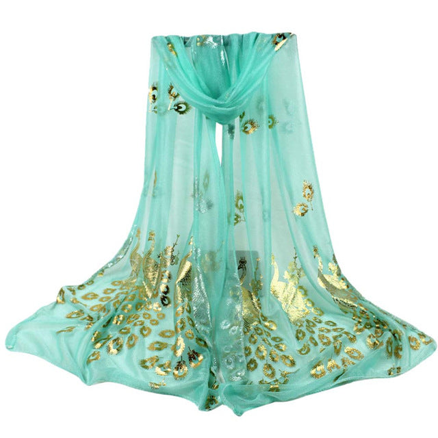 Multi-color Peacock Flower Scarf Long Soft Wrap Shawl