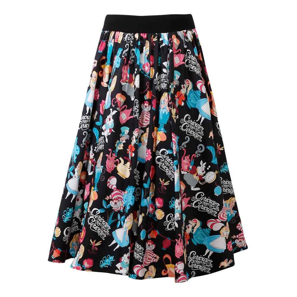 Candow Look Vintage Inspired Clothes Women Elastic High Waist Skirt Saias Faldas Print One Size