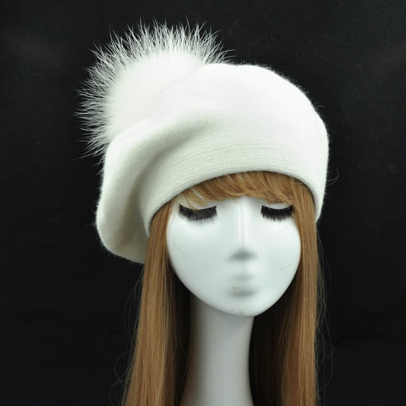 Winter Berets Hat Women Casual Knitted Wool Beret with Real Raccoon Fur Pom Pom Ladies