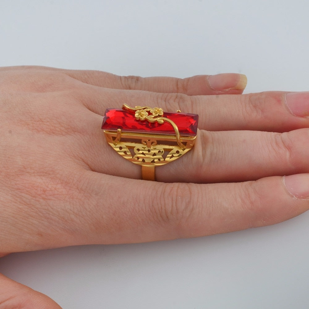 ONE PIECE / Red Blue Green Stone Ring for Women Girls Gold Color