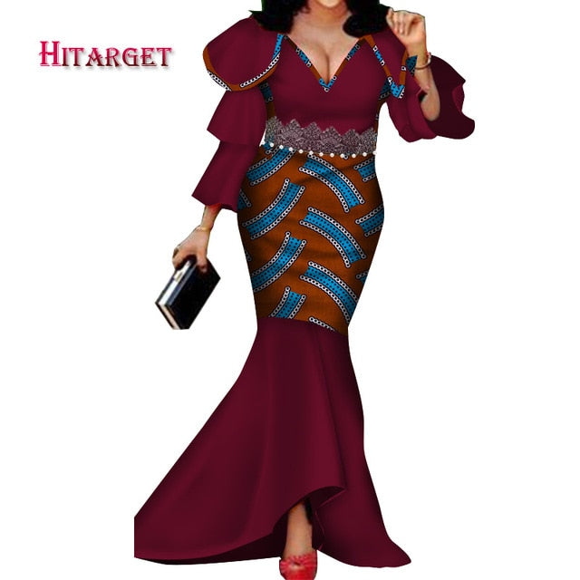 New Bazin Riche African Dresses for Woman Print Sexy V Neck Lotus sleeve Dresses Dashiki African Traditional Clothing