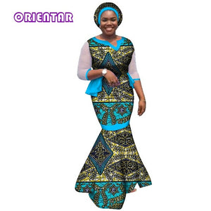 African dresses for women african clothes elegant princess style print cotton floor length