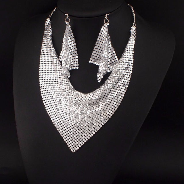 Indian Jewelry Set Chic Style Shining Metal Slice Bib Choker Necklaces Earrings