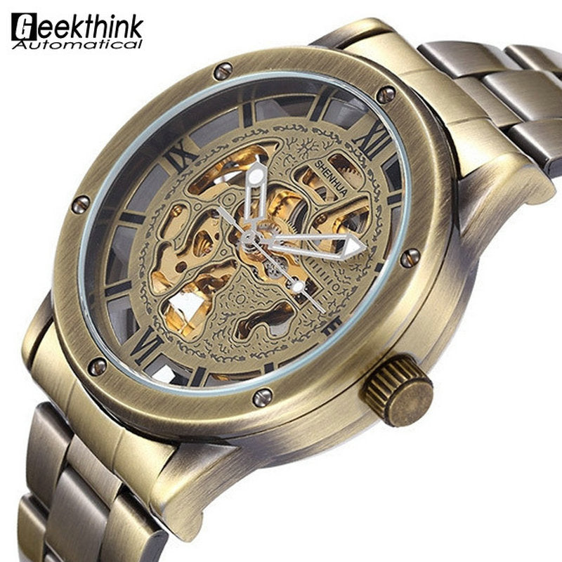 Bronze Men's Skeleton Watch Clock Male stainless steel Strap - Bara Jan Store