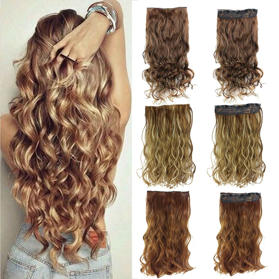 24 inches Clip on Wire Fish Line Hair Extensions Secret Invisible Wire One Piece for Ombre Hair Synthetic Hairpiece