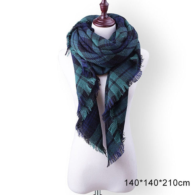 New Winter Scarf Fashion Women Scarf Luxury Plaid Cashmere Scarves
