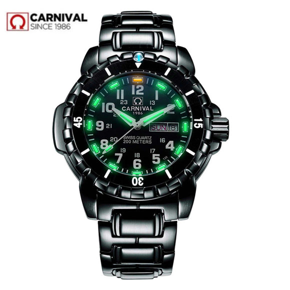 Waterproof 200M military diving watches men T25 tritium luminous luxury brand Switzerland Ronda quartz men watch full steel saat