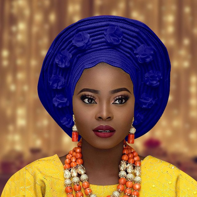 African aso oke headtie auto asoebi gele headwear flower decorate