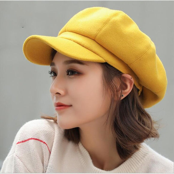 oZyc wool  Women Beret Autumn Winter Octagonal Cap Hats Stylish