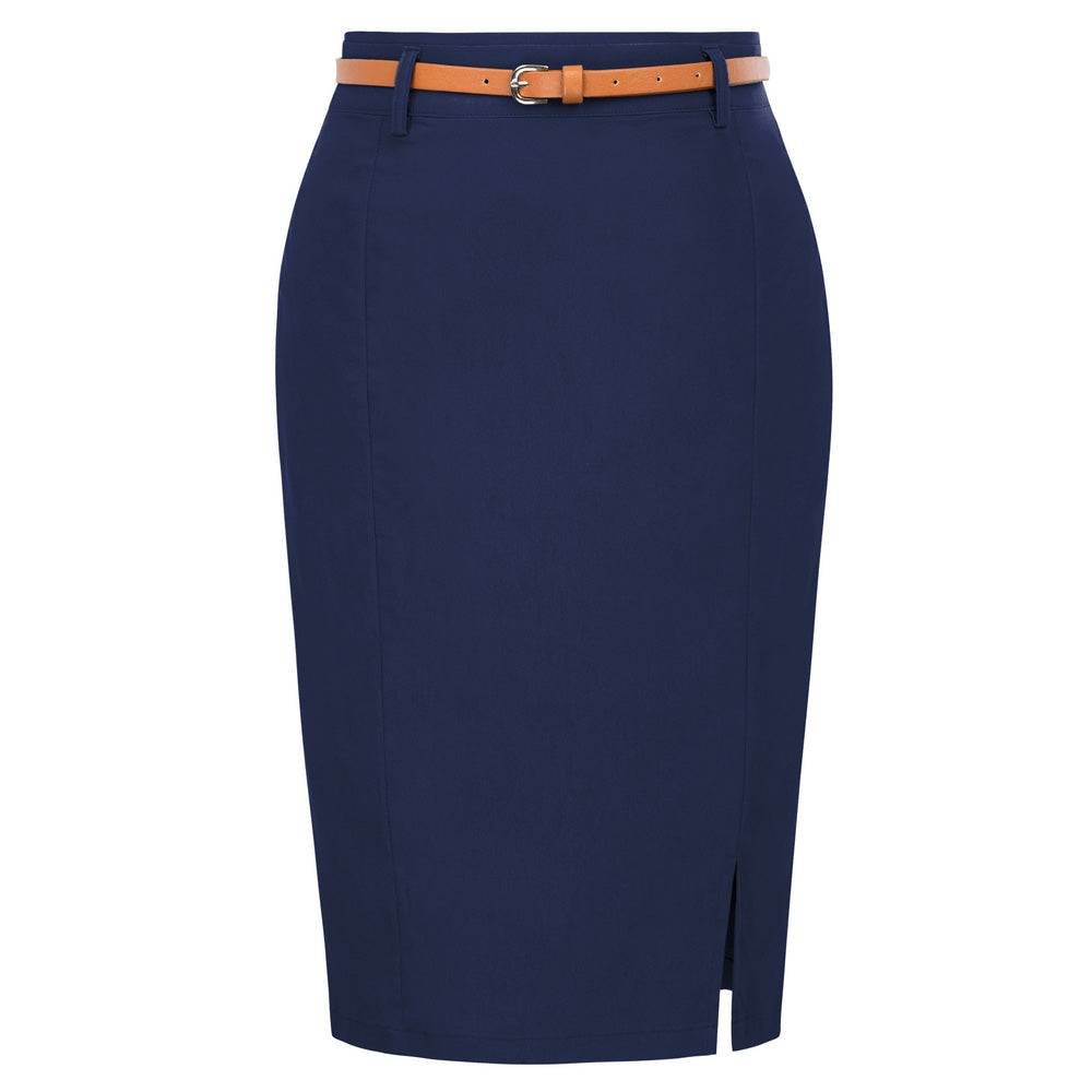 Work wear pencil Solid Color split Belt sashes Decorated Hip wrap Bodycon office skirts