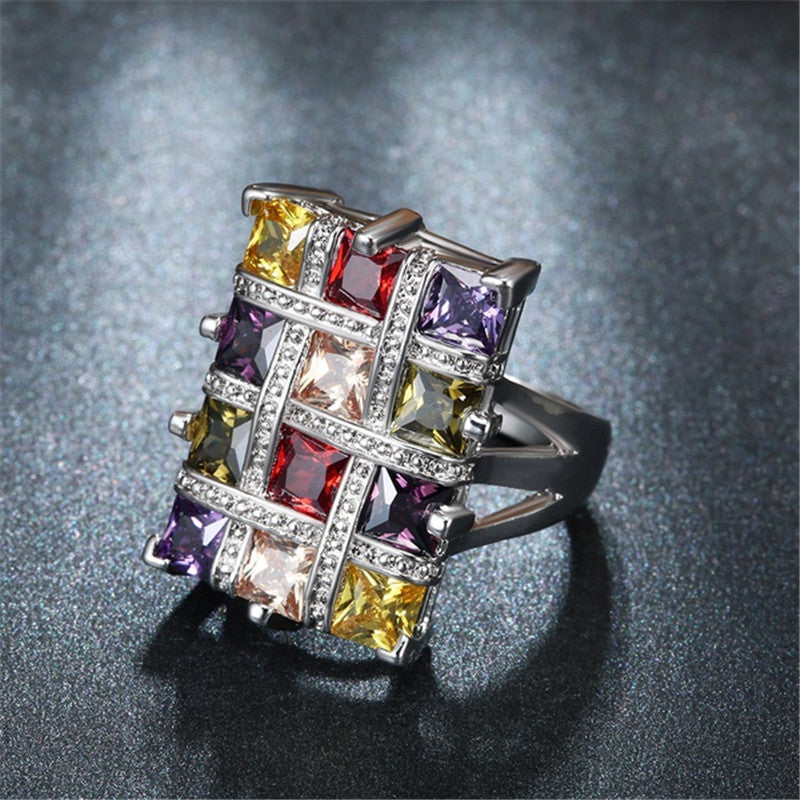 Luxury Multicolor Crystal Zircon Rings for Women Fashion Jewelry