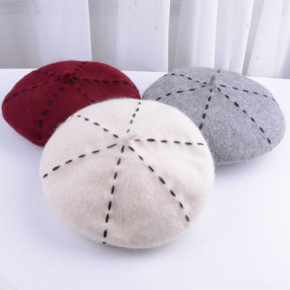 Beret women winter french red black wool beret hat women french hat