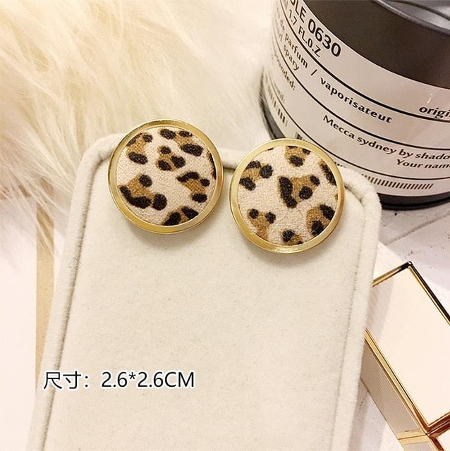 Trendy Autumn Crystal Velvet Leopard Print Gold Metal Geometric Round Square Stud Earrings