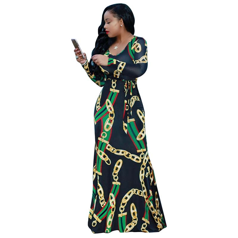Trendy Gold Chain Printed Long Sleeve Belted Maxi Dress Autumn Bodycon Robe