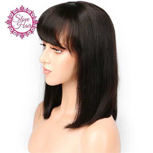 Short Bob Lace Front Human Hair Wigs Black Color Pixie Haircut Remy Brazilian Lace Wig With Bangs French Cut