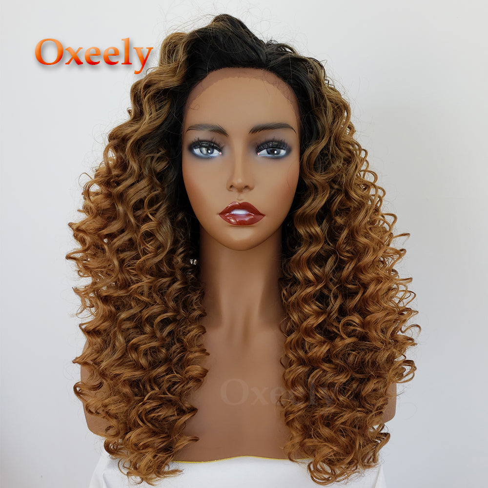 Blonde Curly Hair Synthetic Lace Front Wigs Glueless Ombre Color Kinky Curl Hair Lace Front Wig