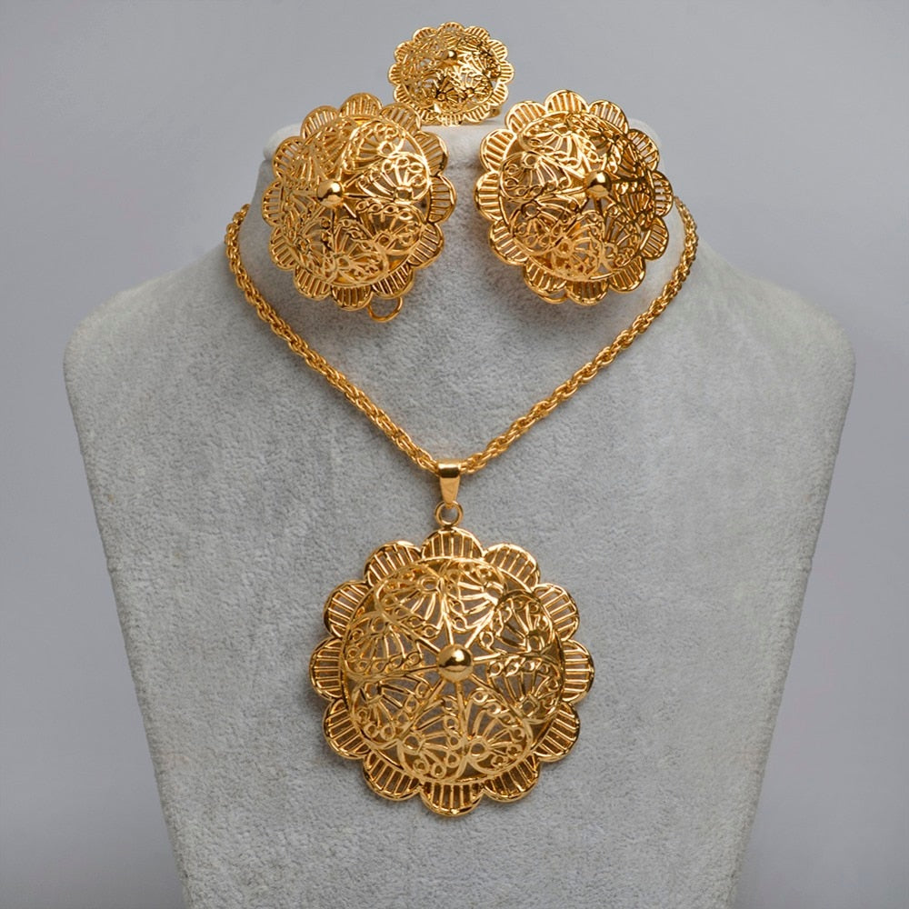 New Ethiopian Bigger Jewelry Sets Gold Color & Copper Flower Item Eritrean Habesha Big Size