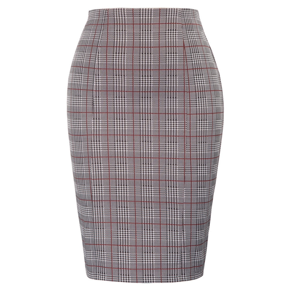 plus size office ladies skirt High Waist Swallow Gird Pattern Hips-Wrapped Bodycon skirt classic fashion mini Pencil Skirt
