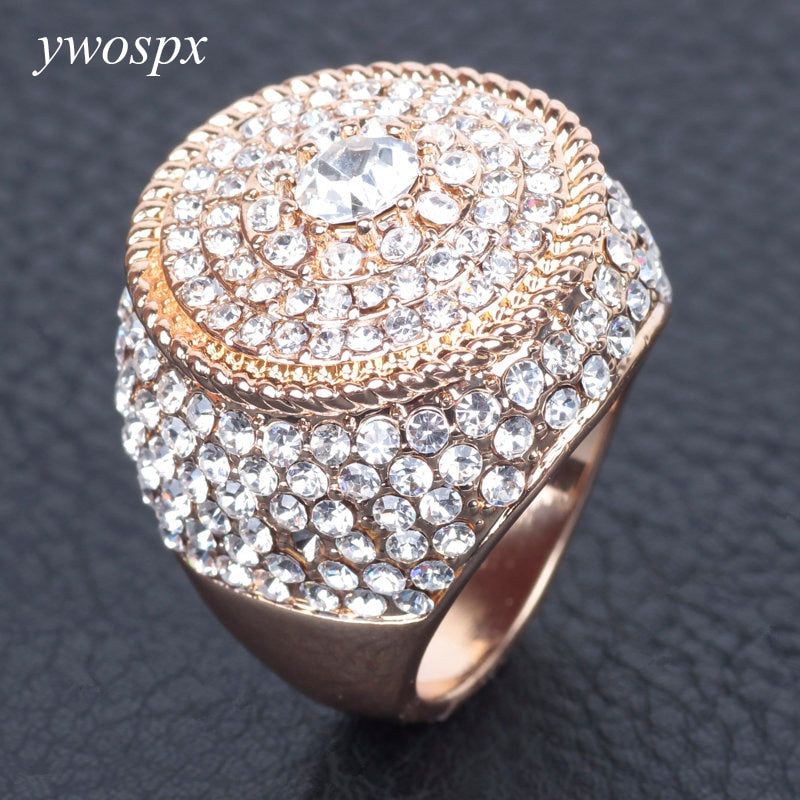 Neutral Wedding Crystal gold Color Big Ring