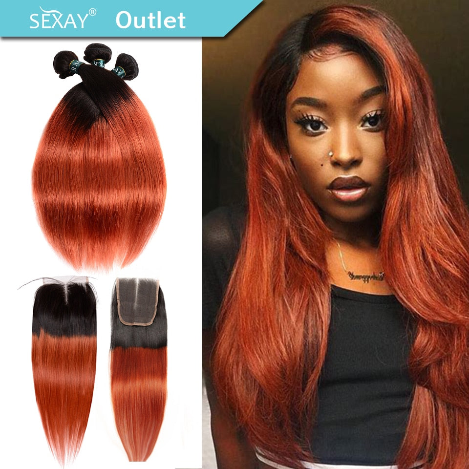 Ombre Bundles With Closure Sexay Professional Colored 1B/ 350 Golden Blonde Brazilian Straight Human Hair 3 Bundles With Closure
