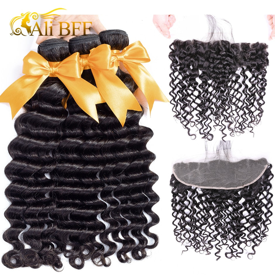 Hair Deep Wave Bundles With Frontal Brazilian Hair Lace Frontal Closure With Bundle Remy Human Hair Bundles With Frontal