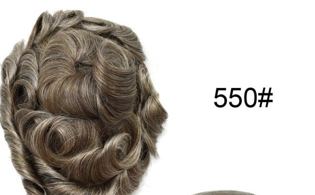 Thin Skin Mens Toupee Full Pu Toupee For Men Naural Black Human Hair Hairpiece Replacement System Men Hair None Lace