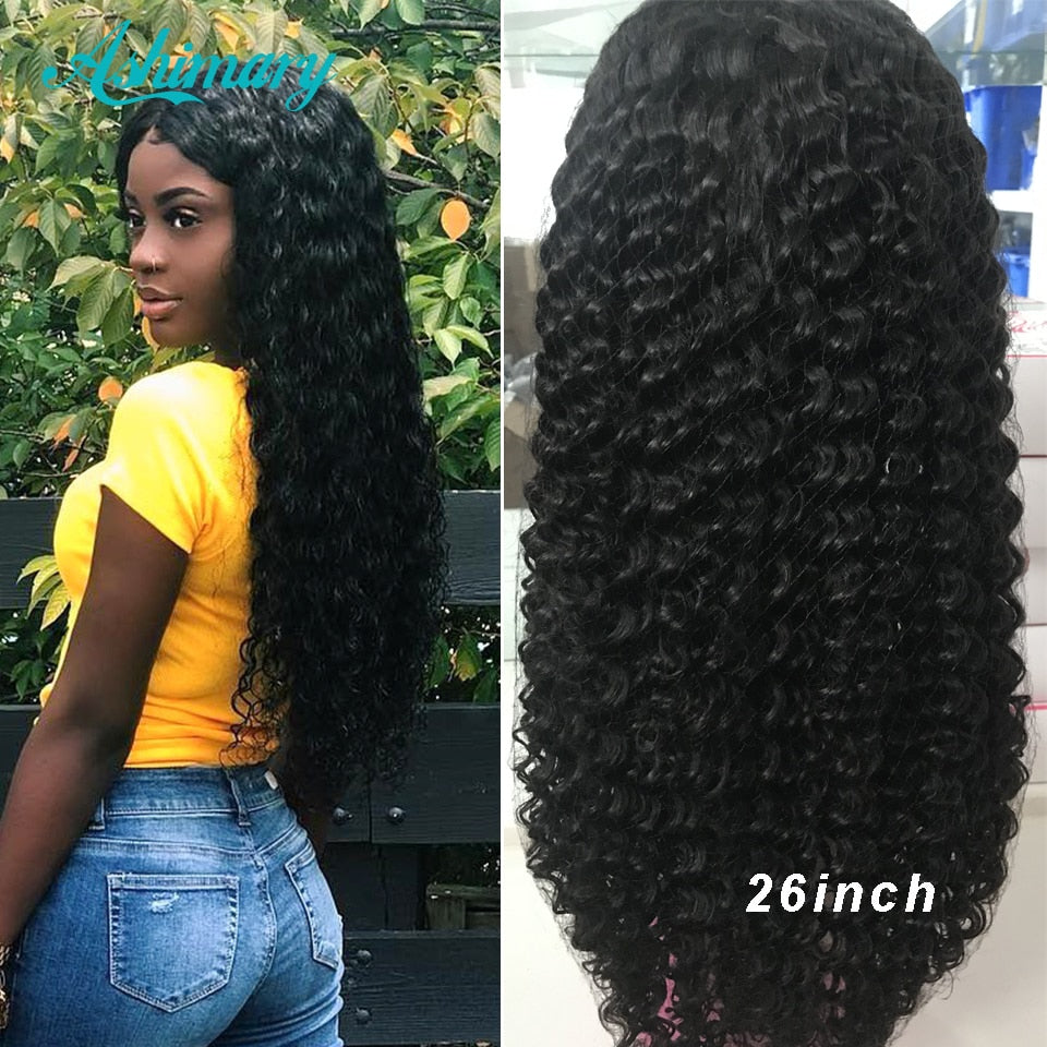 Ashimary Brazilian Deep Wave Lace Front Human Hair Wigs for Black Women Remy Hair 150% Density 4x4 Lace Closure Human Hair Wig