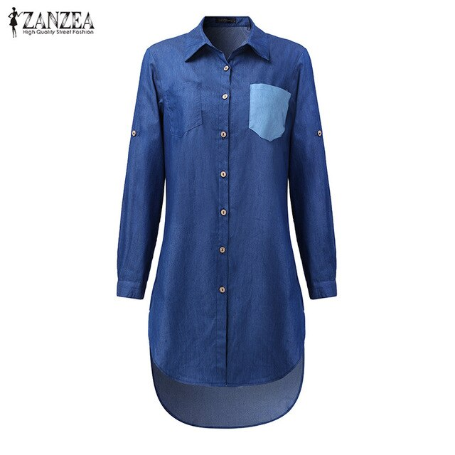 Denim Vintage Lapel Long Sleeve Irregular Hem Long Jeans Blouse Shirt