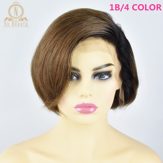 13x6 Lace Front Human Hair Short Bob Wigs Pixie Cut Ombre Color 1B 27 613 Blonde Black Straight Brazilian Remy Hair
