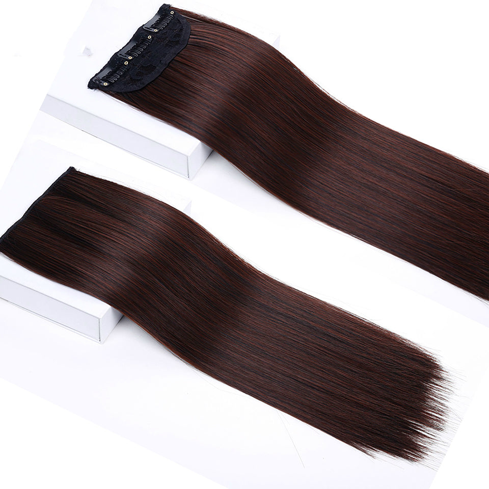 Long Straight Synthetic Women Clip In Hair Extensions Heat Resistant Synthetic Hair Extensions 3 Clip In Hairpiece