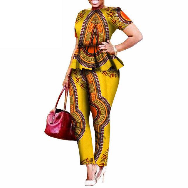 Brief Two Pieces Sets Top and Pants African Clothing Sets