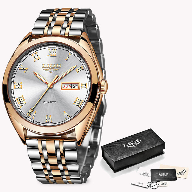 LIGE New Rose Gold Women Watch Business Quartz Watch Ladies Top Wrist Watch