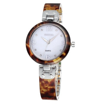 Rose Gold Watches Women Resin Band Shell Dial Watch Quartz Wristwatch