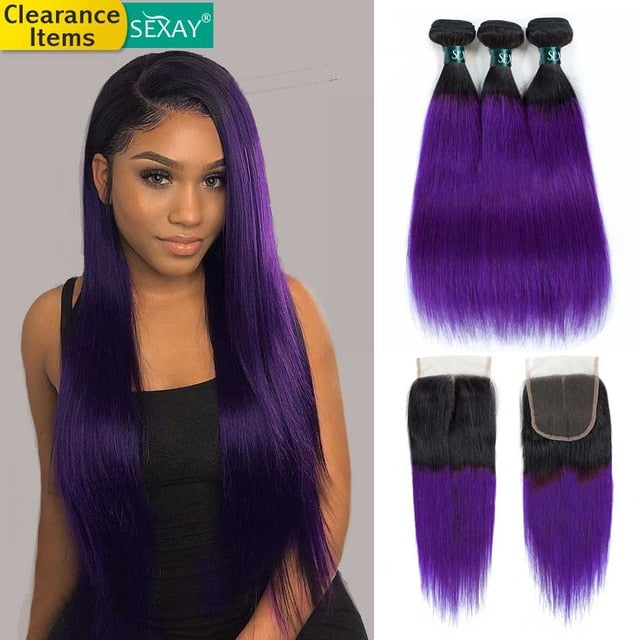 Ombre Human Hair Bundles With Closure 1b Purple 27 99j Pre Colored Hair Weave Ombre Brazilian Straight Hair Bundles With Closure