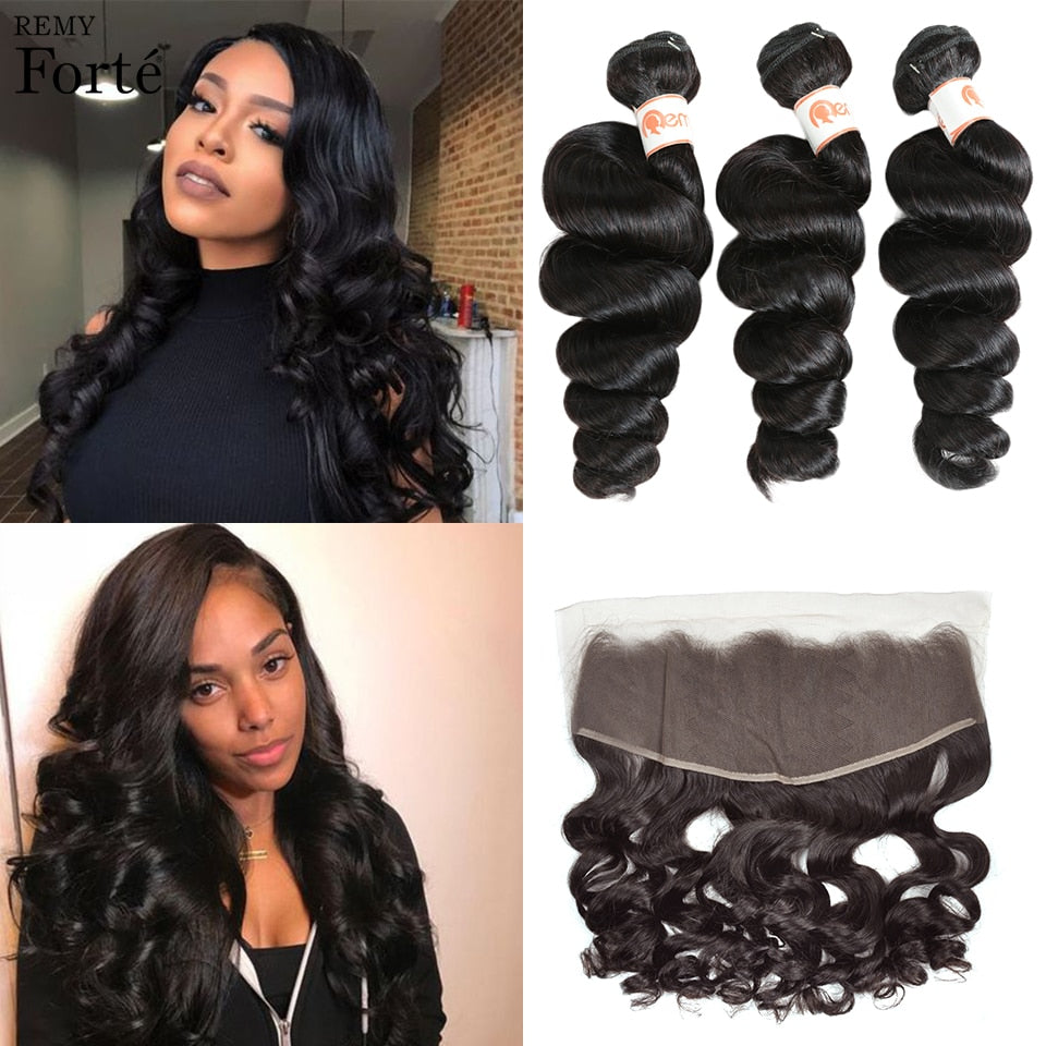 Remy Forte 30 Inch Bundles With Frontal Brazilian Hair Weave Bundles Loose Wave Bundles With Closure 2/3 Bundles With Closure
