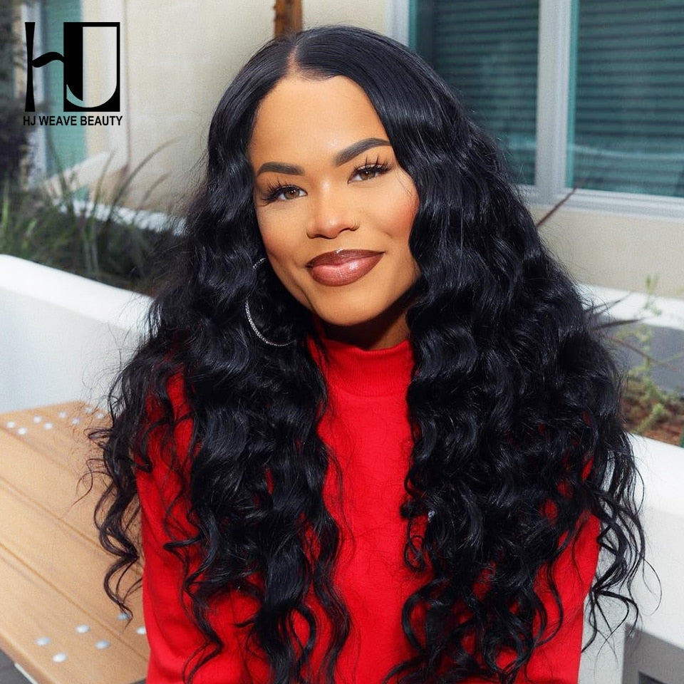 WEAVE BEAUTY Lace Front Human Hair Wigs Peruvian Natural Wave 250% Density Wigs For Black Women Lace Closure Wig