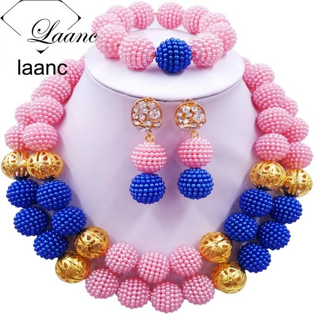 Fashion Royal Blue and Yellow Beads Jewelry Set