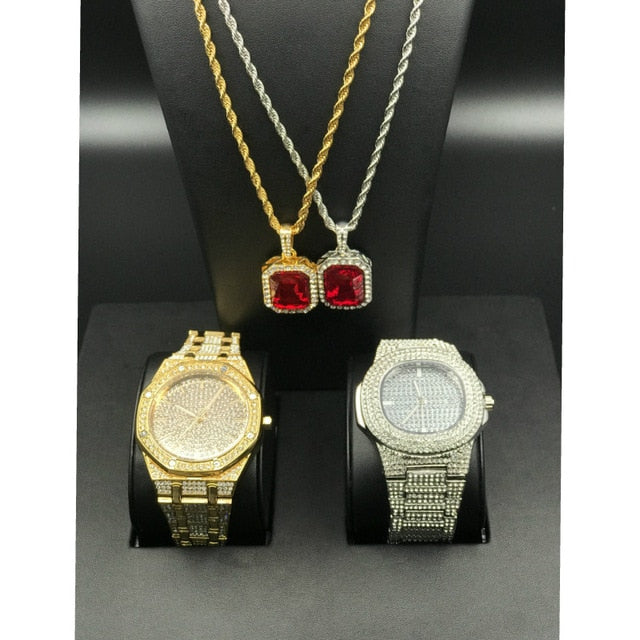 Men Luxury Hip Hop Iced Out Diamond Watch & Red Ruby Necklace Combo Set 2 gold diamond Pendant set