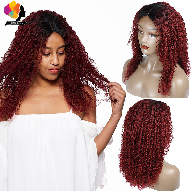 T1B 99J Red Lace Front Human Hair Wigs Pre Plucked Afro Kinky Curly Wig Ombre Burgundy Peruvian Remy Human Hair Wig 4*4 Closure