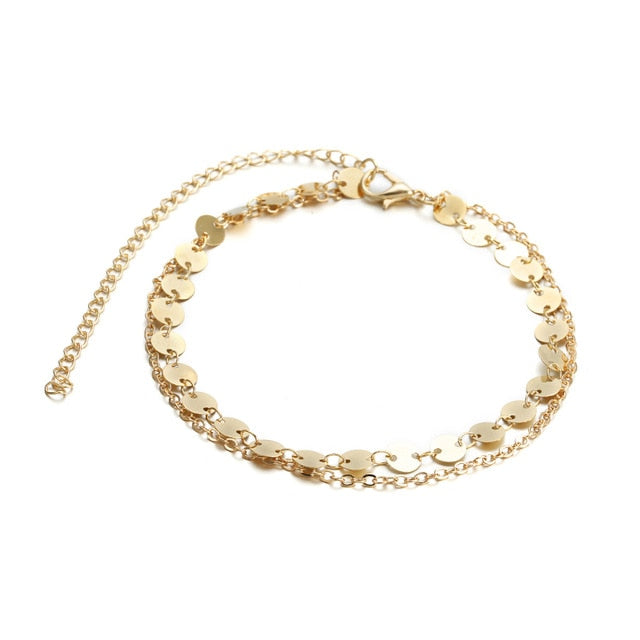 Gold Color Double Ankle Chain Sequins Anklet Fashion Summer Style