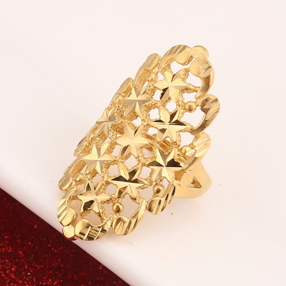 Dubai Golden Ring Gold Color Adjustable Size Finger Ring