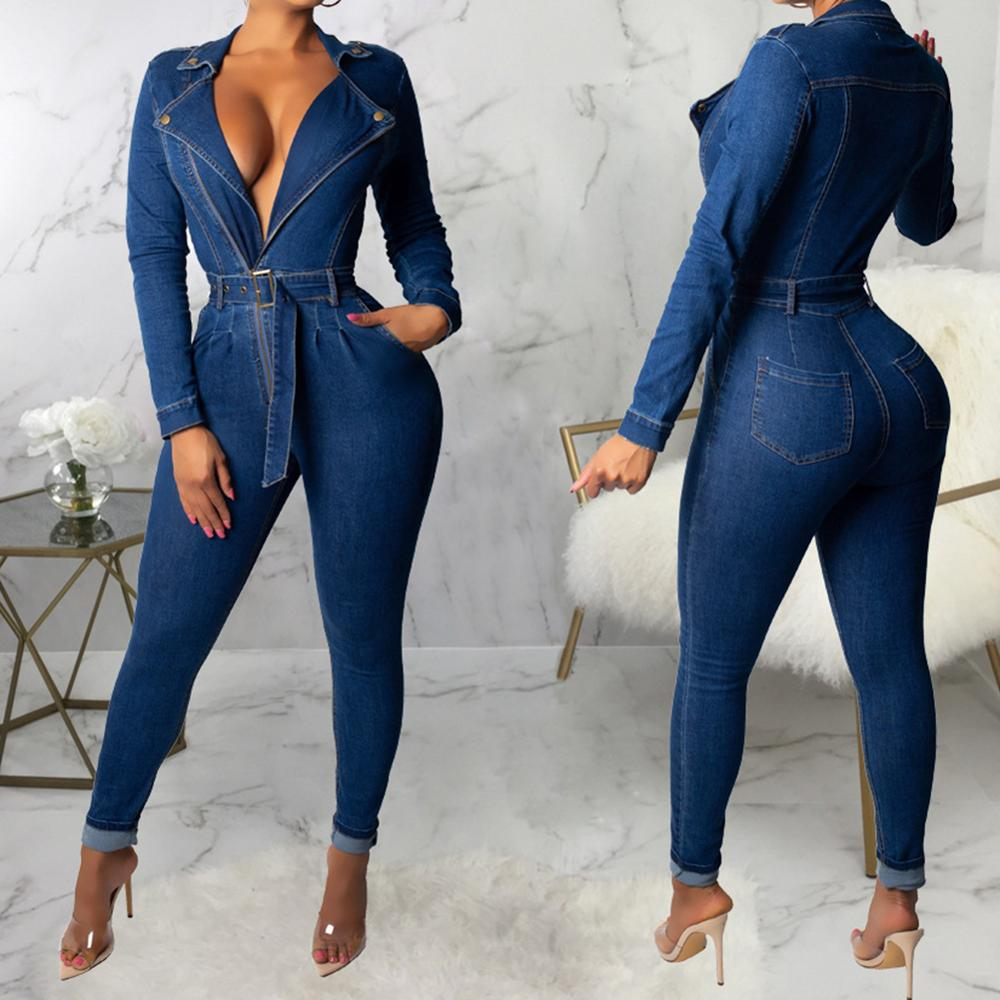 Denim Jumpsuit Women Long Sleeve Front Zipper Jeans Rompers Belted Overalls