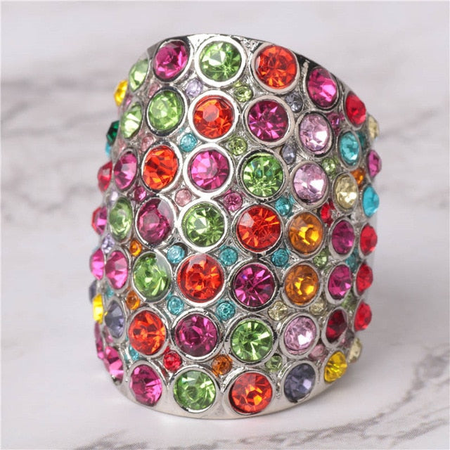 Luxury Multicolor Zircon Anel Silver Color Big Rings for Women