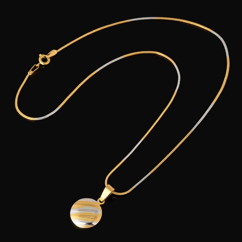 High Quality Ladies Girl Necklace Hoop Earrings Pendant Jewelry Sets Fashion Dubai Pure Gold Silver Color