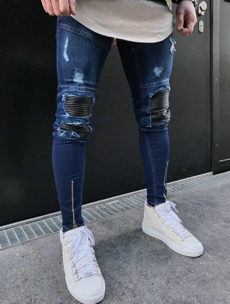 2017 KNEE PROTECTION stretch biker Jeans men Blue denim skinny Trousers Hip hop male streetwear Holes motorcycle elastic pants - Bara Jan Store