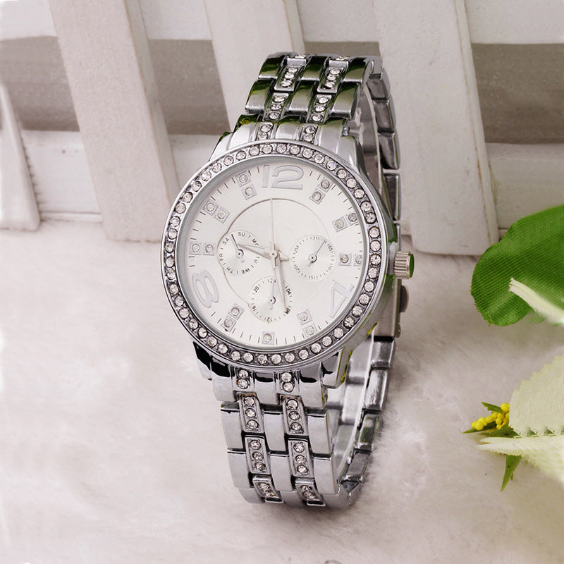 Women Rhinestone Watches Geneva Watches Stainless Steel Watches Crystal Shiny 3colors Crystal hours - Bara Jan Store