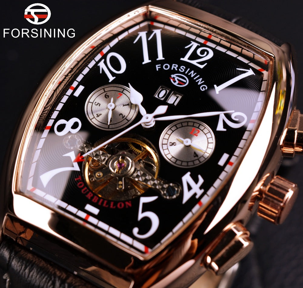 Forsining Date Month Display Rose Gold Case Mens Watches Top Brand Luxury Automatic Watch Montre Homme Clock Men Casual Watch - Bara Jan Store